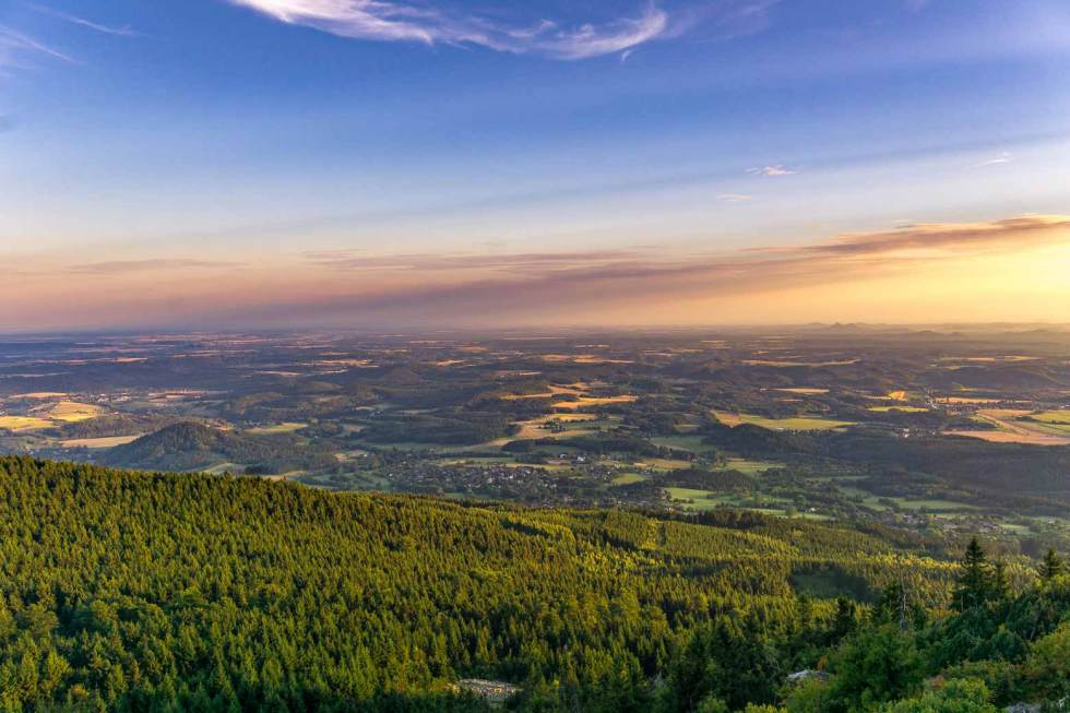 View of the Czech countryside from Jested Tower