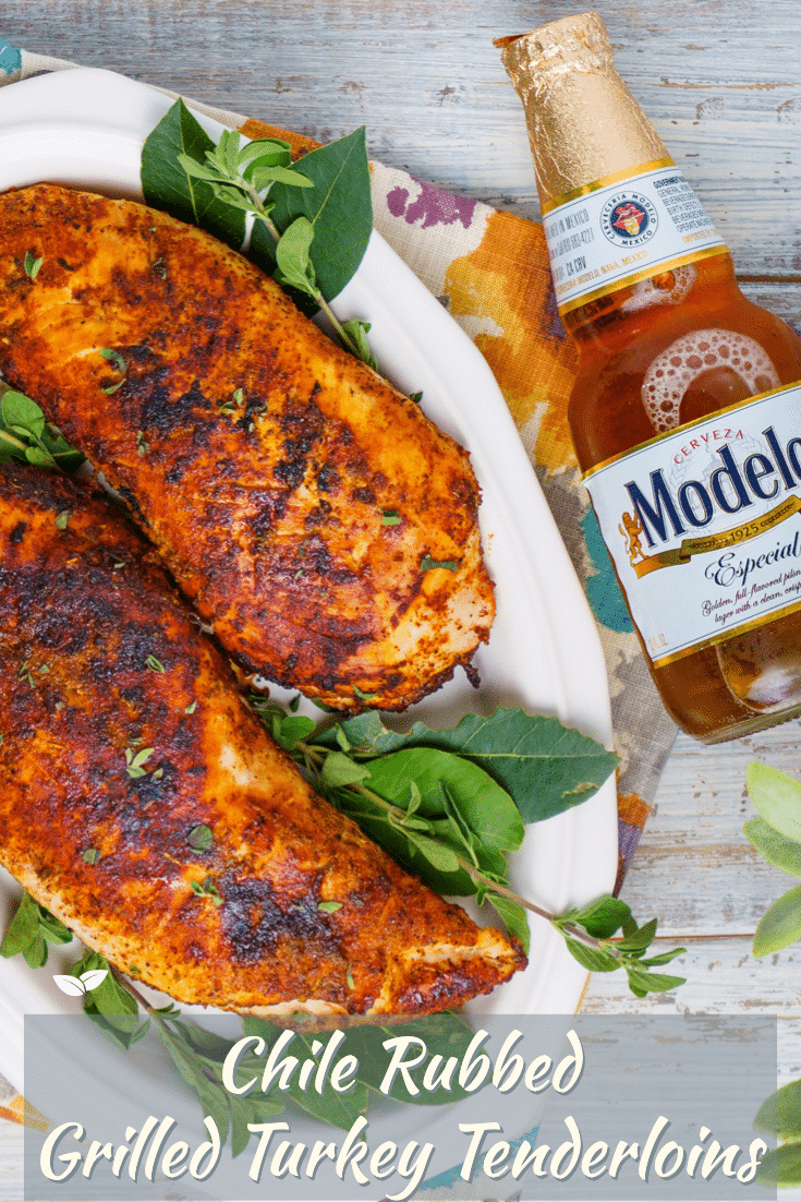 Grilled turkey tenderloins are marinated and rubbed for an easy and healthy alternative to those heavy holiday dishes. Unlike other turkey recipes, using these tender strips means there are no bones to deal with! So fire up the grill, grab some Modelo® to marinate the tenderloins, and watch turkey cook in minutes versus slaving over an oven for hours! via @mrsmajorhoff