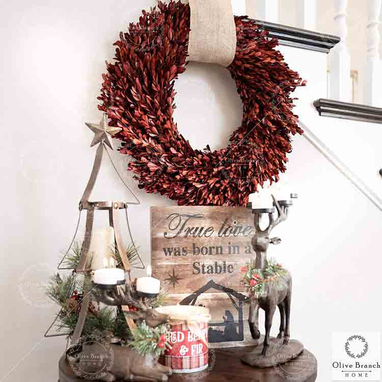 Olive Branch Home red boxwood wreath on amazon