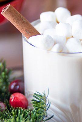 cinnamon stick garnish on a white hot chocolate drink