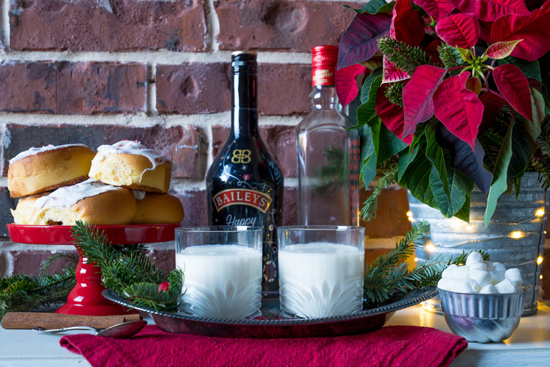 serving hot chocolate spiked with baileys and marshmallow vodka