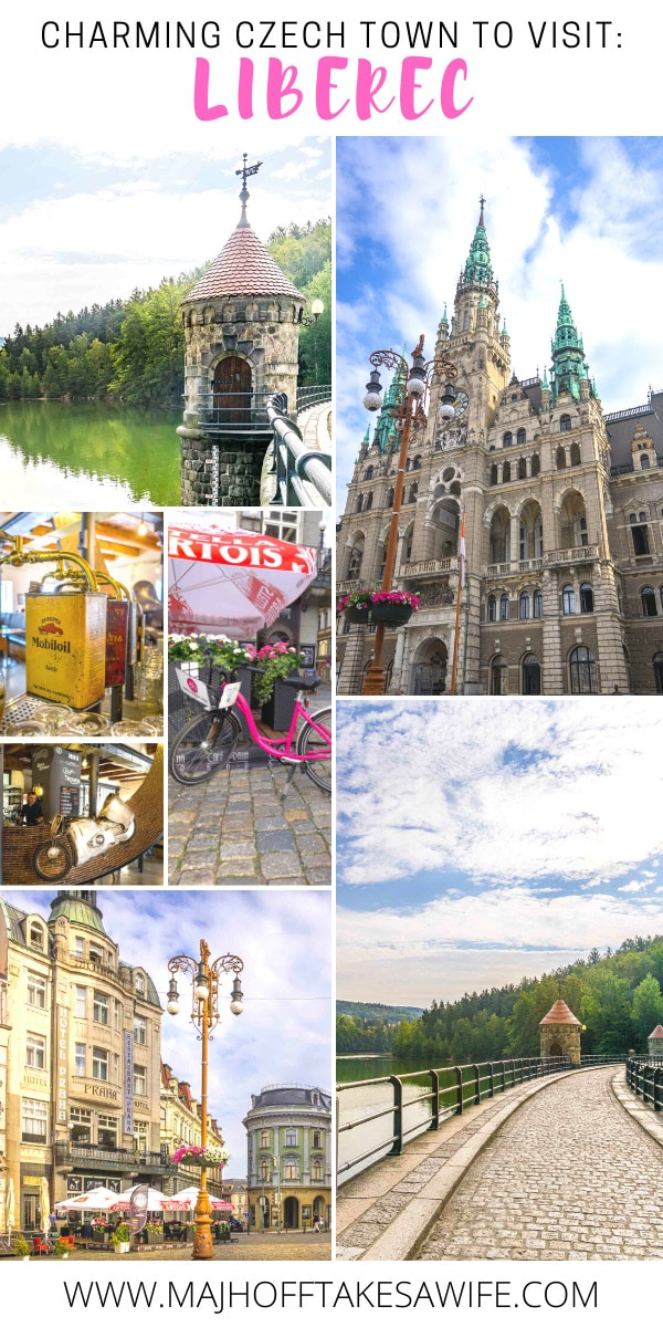 Charming Czech Town of Liberec with a dam, town hall, hotel praha, pink bicycle and turret WC