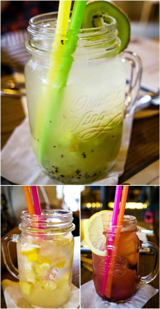 Czech Lemonade in different flavors: Kiwi, lemon, and strawberry