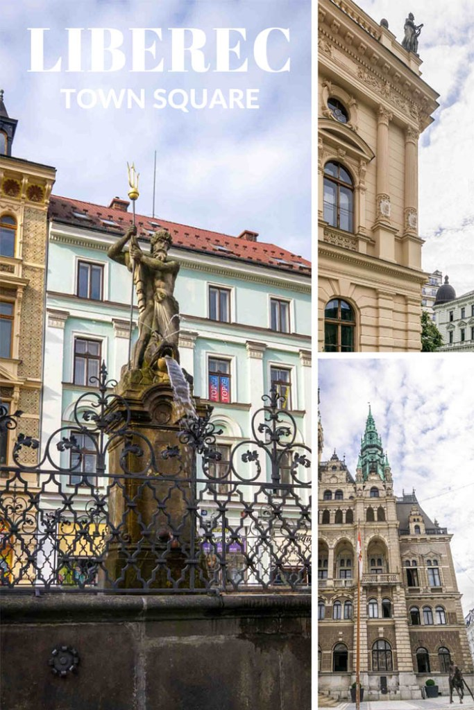 Liberec town square has a water fountain and architectural details.