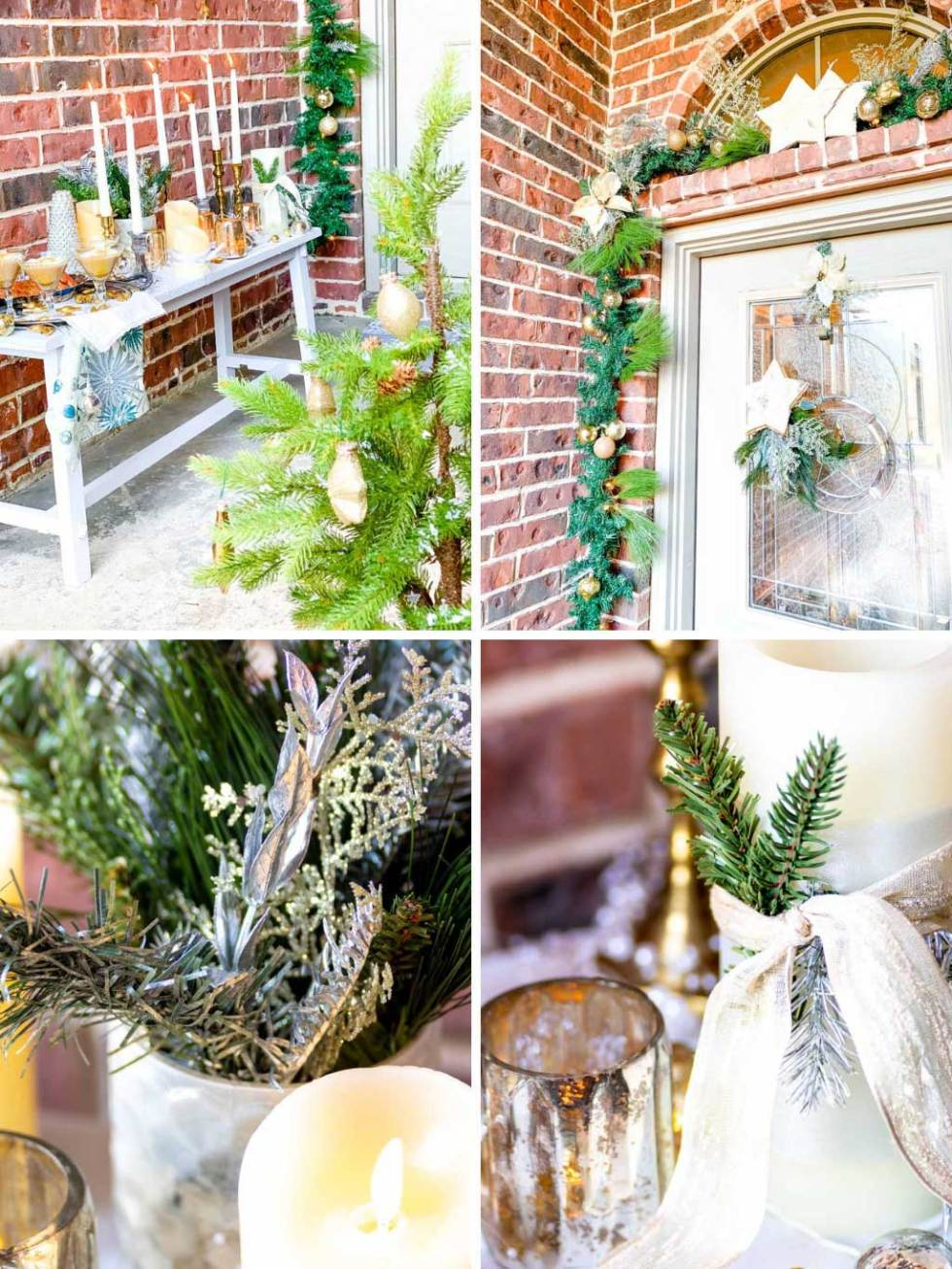 Front door and entry way details with Christmas decor