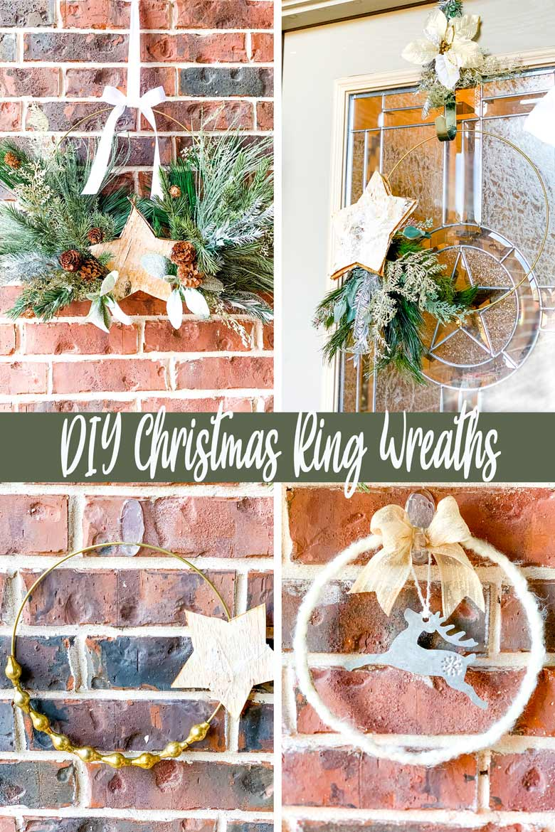 Metal hoop wreaths are all the rage right now, from modern to farmhouse, you can't pick up a magazine without spying at least one! DIY your own for the Christmas holidays using basic supplies, metal wreath rings and just a few holiday floral stems. Here are 4 gold hanging hoop wreaths with step by step instructions to get you inspired to create this easy craft! via @mrsmajorhoff