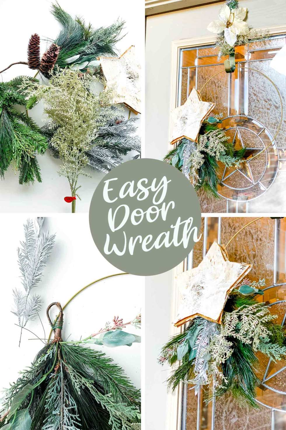 easy door wreath with a metal hoop and a few floral stems