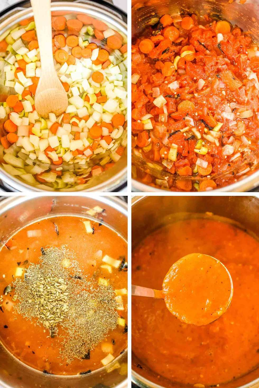 collage of steps of making tomato red pepper soup in a pressure cooker: saute vegetables, add in tomatoes, peppers, and spice, and the soup after it is pureed.