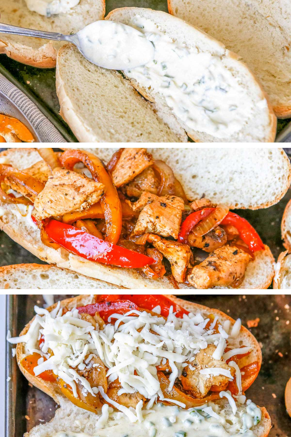 a collage of steps to assemble the sandwich: Smearing garlic aioli on a bun, topping bun with chicken and pepper mixture and final photo showing bun and chicken topped with shredded cheese.