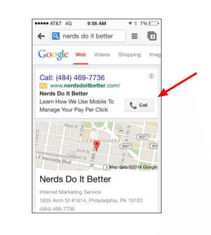 Example of a click to call mobile ad