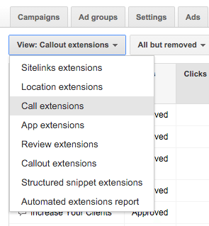 View Call Extensions