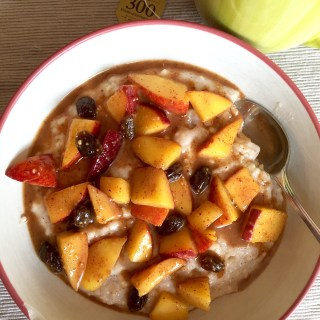 Maple Almond Butter Peach Whipped Oatmeal