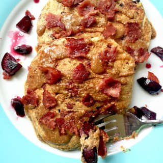 Maple-Bourbon Cherry Buttermilk Pancakes with Bacon