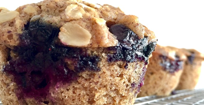 Healthy Blueberry Muffins with Oats and Flax