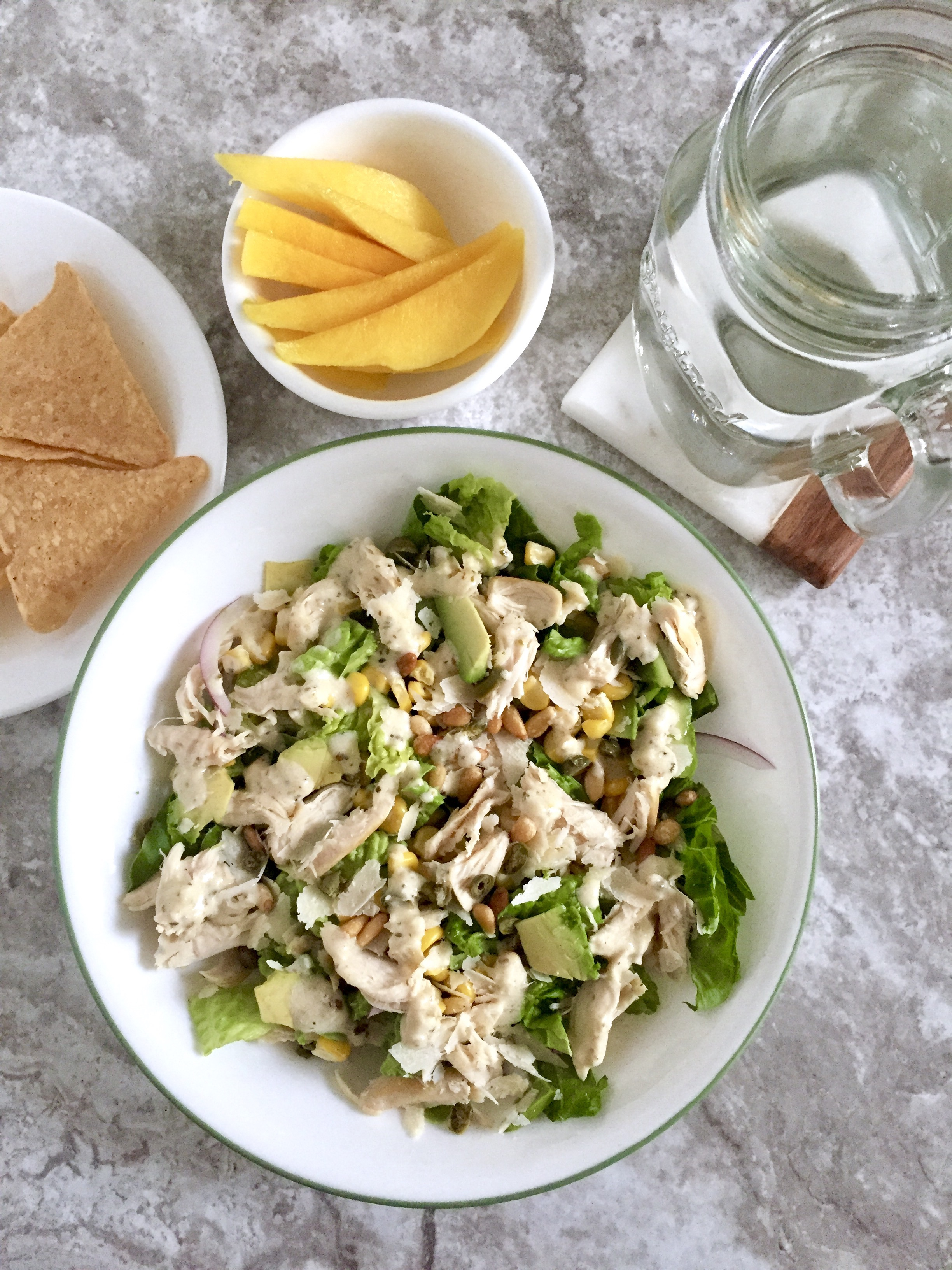 Chicken Caesar Salad Corn Avocado Pine Nuts