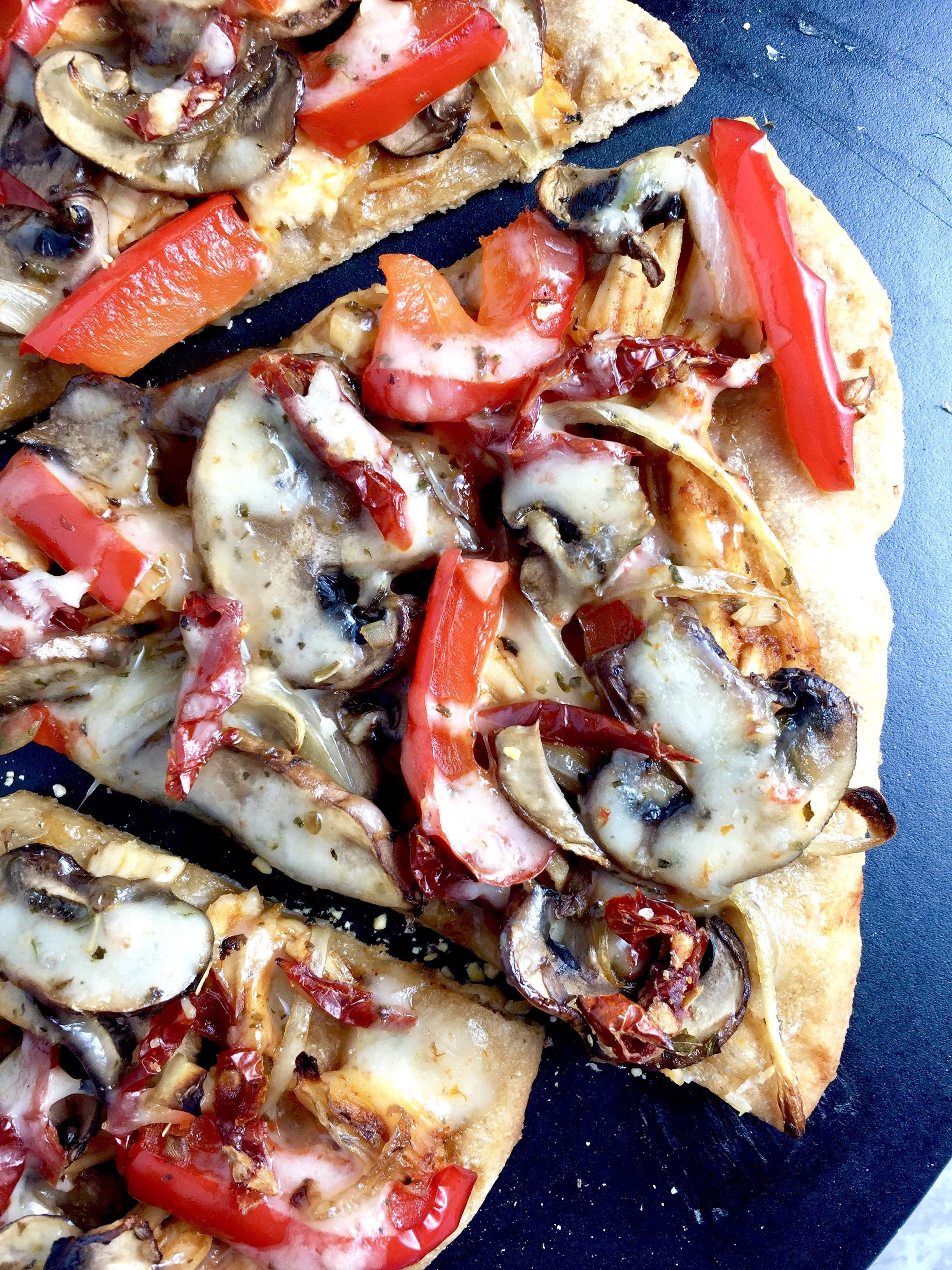 BBQ Chicken Sun-Dried Tomato Pizza with Whole Wheat Crust