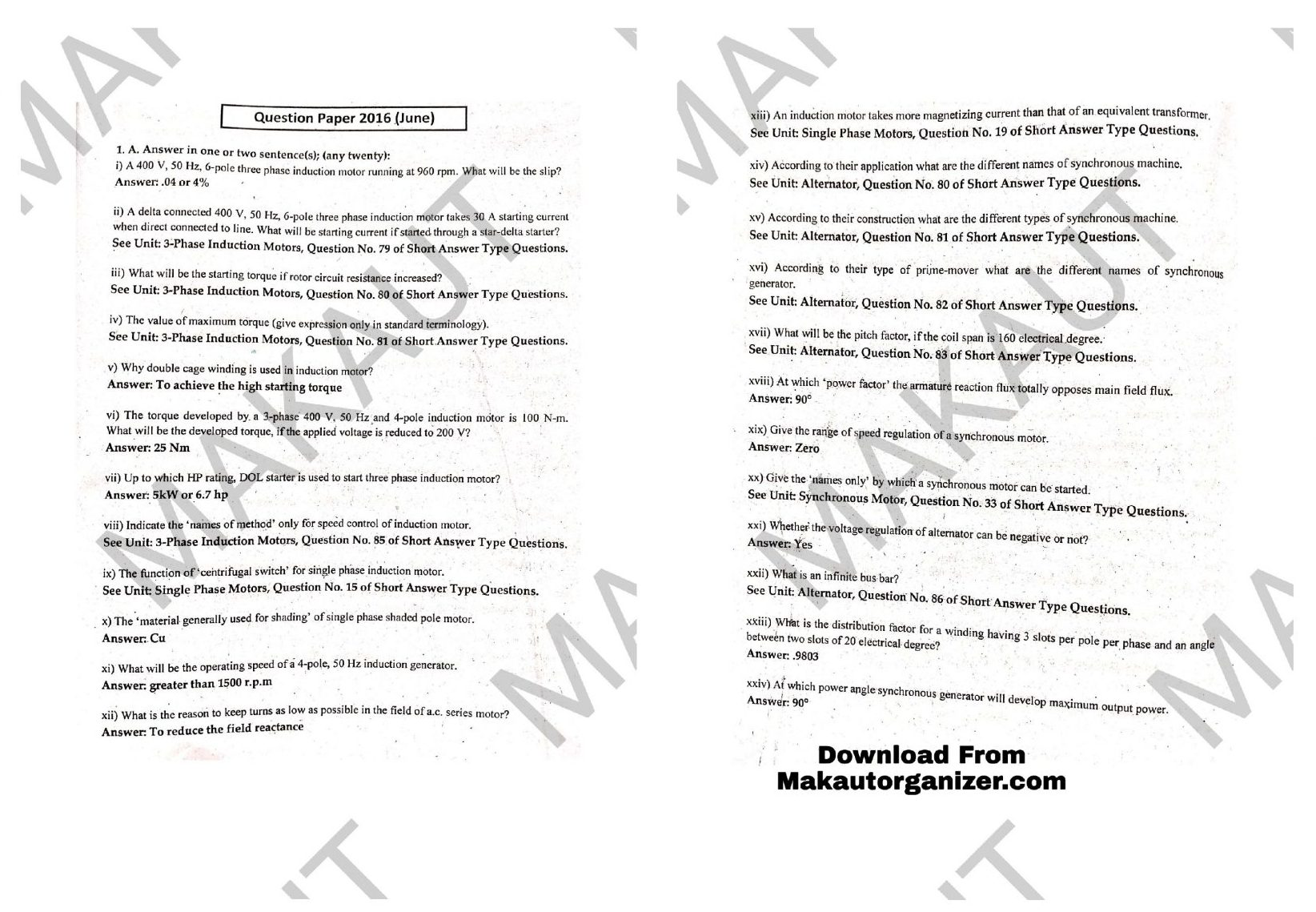 Read more about the article ME Makaut Polytechnic 5 years Question Paper PDF