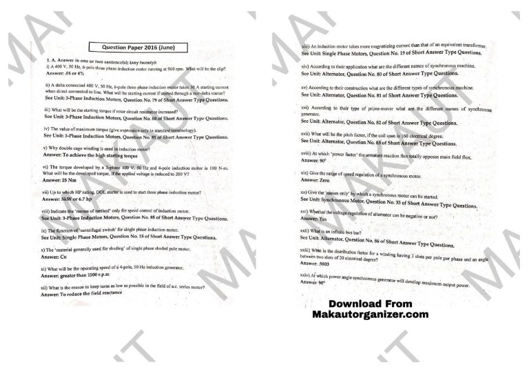Read more about the article MAKAUT Previous Year Question Papers PDF