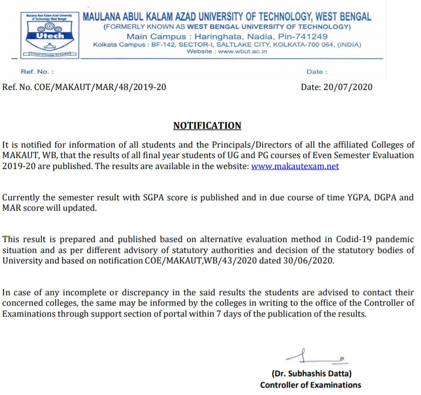 You are currently viewing Makaut Final Year 2020 Result Published