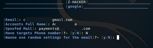 Выбор страницы Google для фишинга