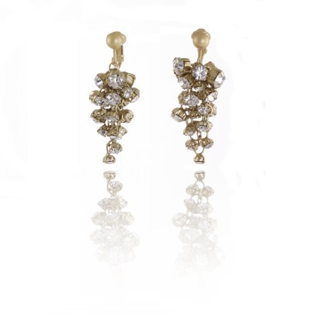 Adele Marie Gold Crystal Cascade Clip On Earrings