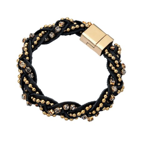 Fiorelli Black and Gold Leather Bracelet