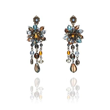 Adele Marie Bead Rosette Clip On Earrings - Sea Tones
