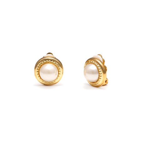 Rodney Holman Gold Plated Pearl Clip On Earrings