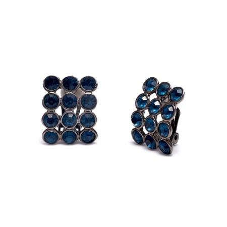 Rodney Holman Gunmetal Blue Clip On Earrings