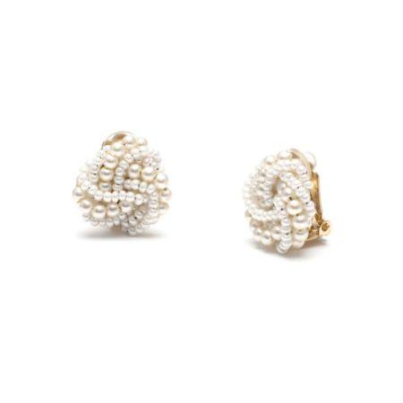 White Faux Vintage Torsade Clip On Earrings