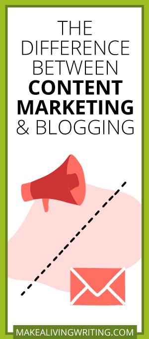 La différence entre le marketing de contenu et les blogs. Makealivingwriting.com