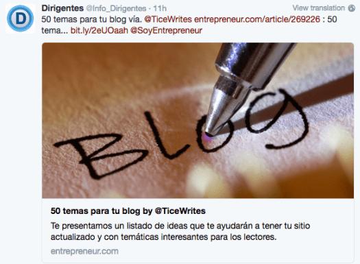 Marketing de contenu - tweet d'entrepreneur