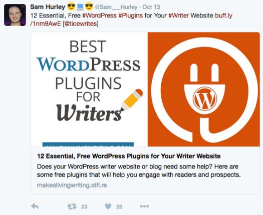 Marketing de contenu - Sam Hurley retweet