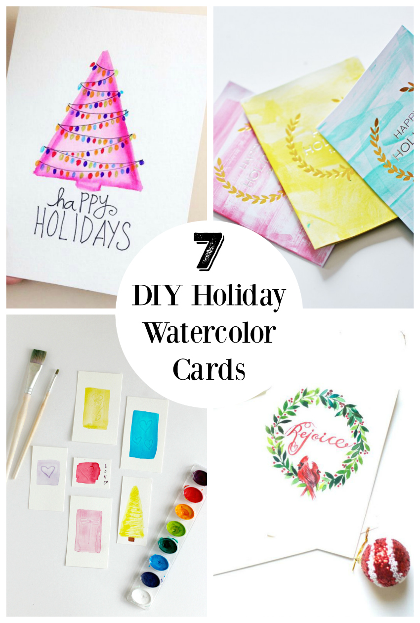 7 DIY Holiday Watercolor Cards To Send Out To Friends