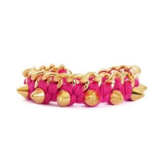 comprar pulsera de eslabones y pinchos rosa