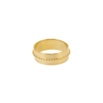 Sortija ancha con diseño de bolitas en dorado