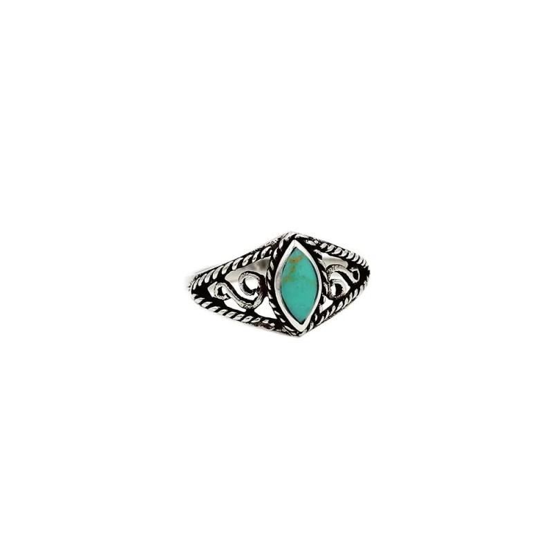 anillo boho chic en plata de ley con piedra turquesa