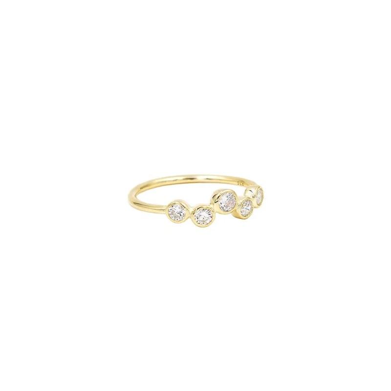 anillo galaxia con cinco circonitas blancas