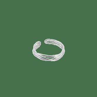 Sortija de varios hilos entrelazados ajustable en plata de ley