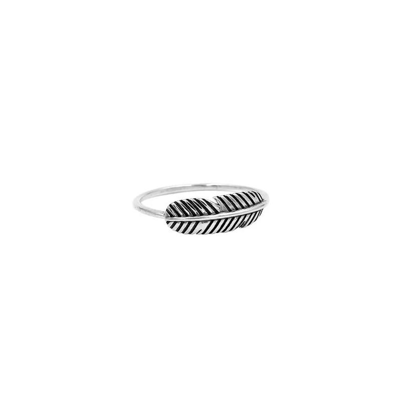 anillo pluma de plata de ley