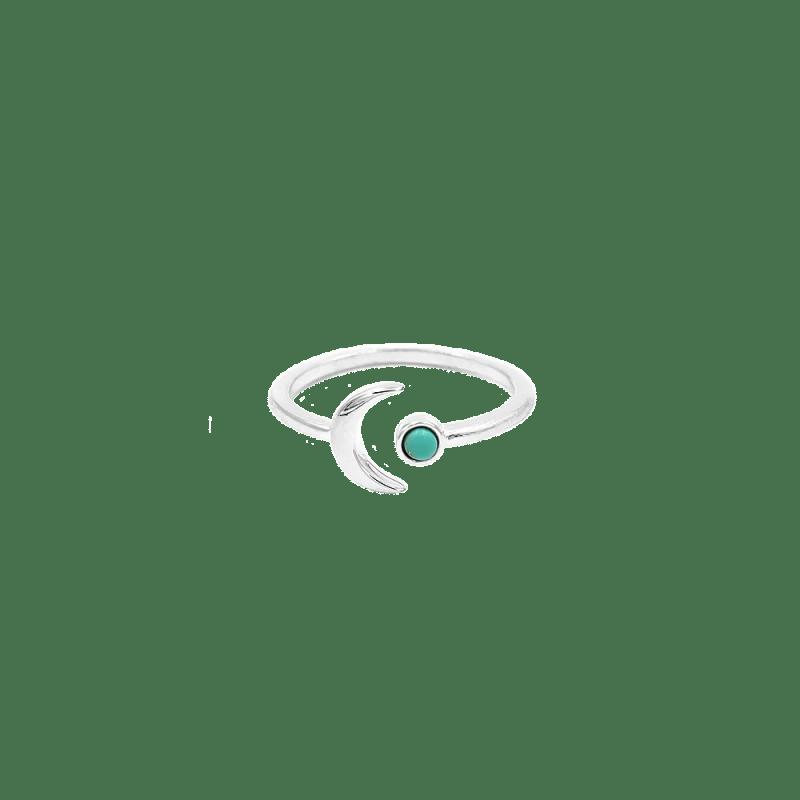 Sortija ajustable con diseño de luna y piedra turquesa