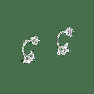 Pendientes de aro abierto en plata de ley decorado con cristales