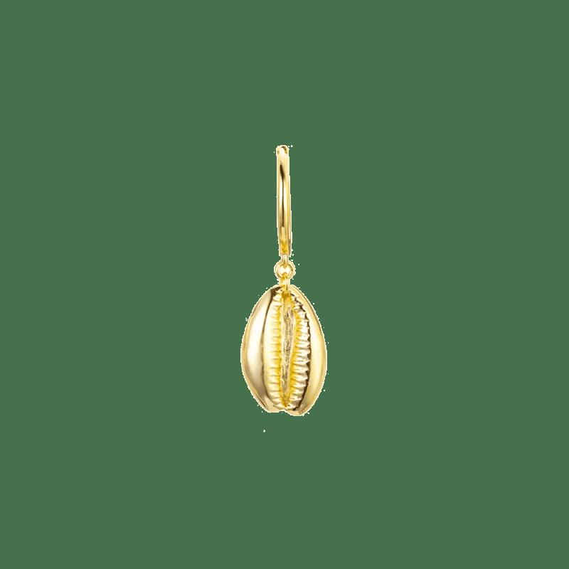 Pendientes de aro con concha dorados