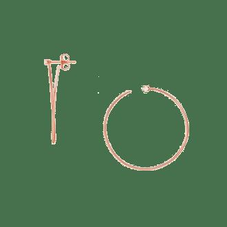 Pendientes de aro fino en baño de oro rosa