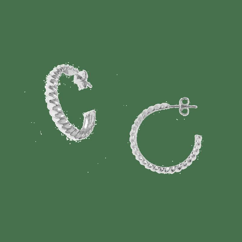 Pendientes de aro ancho con diseño twist en plata de ley