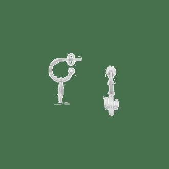 Pendientes de aro con colgante en forma de cactus en plata de ley