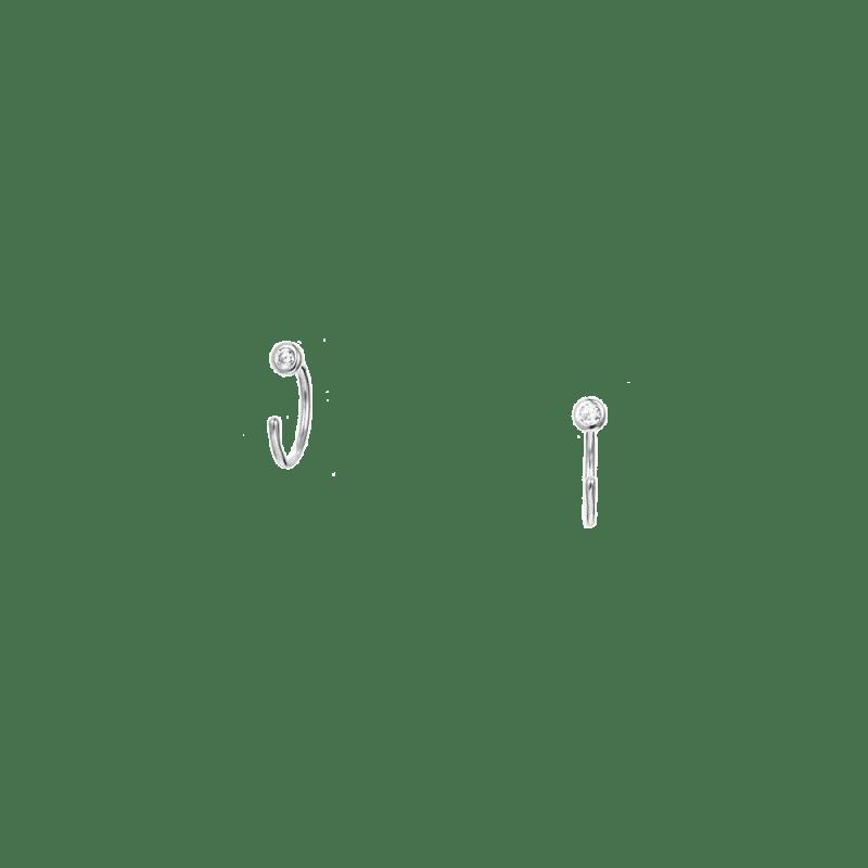 Pendientes de arito pequeño de circonita sin cierre