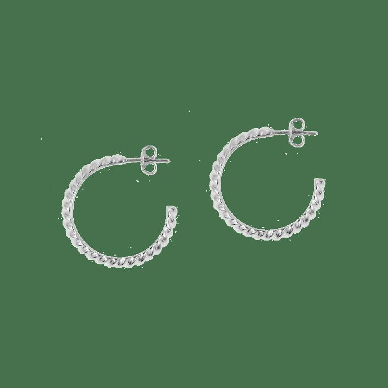 Pendientes de aro ancho de diseño en plata de ley