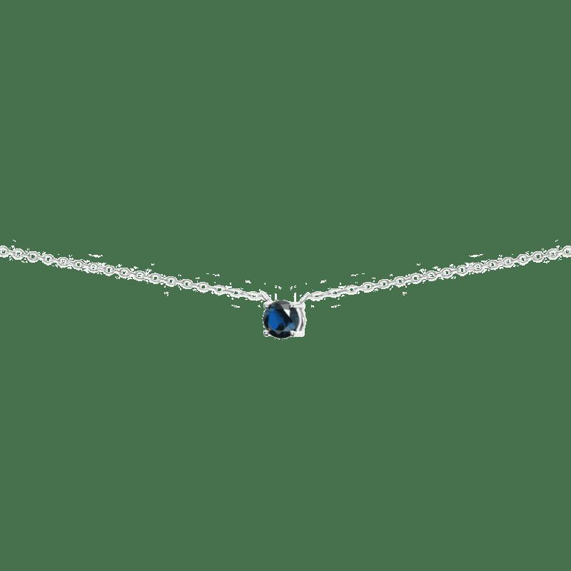 Collar con circonita azul zafiro en plata de ley