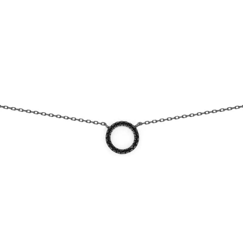 1cc2e9706f63 Collar karma con colgante círculo negro en plata de ley y baño de rodio